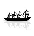 businessman silhouette teamwork rowing boat vector image vector image