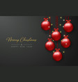 Christmas card of red bauble balls and xmas lights