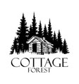cottage and pine forest silhouette logo design - v vector image
