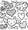 doodle hearts seamless pattern vector image