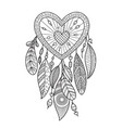 entangle heart dream catcher with feathers vector image vector image