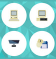 flat icon computer set of pc computer mouse vector image vector image