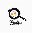 frying eggs on frying pan breakfast menu logo vector image vector image