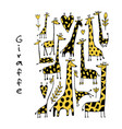 giraffes collection sketch for your design vector image vector image