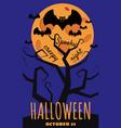halloween holiday greeting card bats moon tree vector image vector image