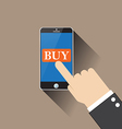 hand buy on smartphone vector image vector image