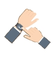 hand with smart watch trendy wearable technology vector image vector image