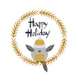 happy holiday card with owl bird in round frame vector image vector image