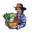 happy woman farmer hold a bucket full of vector image