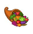harvest autumn cornucopia with vector image vector image