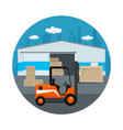 icon with forklift truck vector image vector image