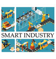 isometric automated factory composition vector image vector image