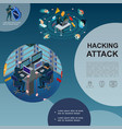 isometric hackers attack template vector image