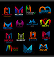 letter m icons signs business creative font vector image