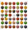 Mine Cubes 02 Elements Isometric vector image