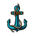 nautical anchor with rope vector image vector image