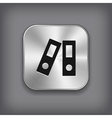 Office folder icon - metal app button vector image