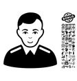 Officer Flat Icon With Bonus vector image