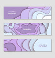 paper cut waves shape abstract template violet vector image vector image