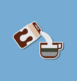 paper sticker on stylish background coffee carton vector image vector image