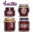 plum jam in glass jars vector image vector image