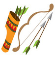 quiver arrows and bow ancient weapon vector image vector image