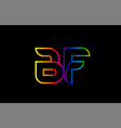rainbow color colored colorful alphabet letter bf vector image vector image