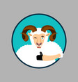 ram thumbs up and winks emoji sheep farm animal vector image