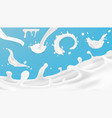 realistic clear milk splash template for vector image