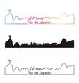 Rio de Janeiro skyline linear style with rainbow vector image vector image