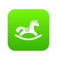 rocking horse icon digital green vector image