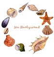 round frame with watercolor drawing shells vector image vector image