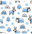 Seamless pattern with cute doodle reindeer and vector image vector image