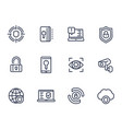 security and protection line icons on white vector image