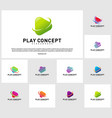 set of play logo design concept planet play logo vector image