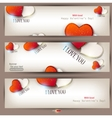 set of three banners with hearts valentines day ba vector image vector image