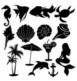 set summer elements collection beach vector image vector image