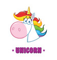 smiling magic unicorn head vector image vector image