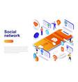 social network modern flat design isometric vector image