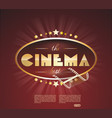 the retro cinema scoreboard with a film and vector image