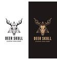 vintage head deer antler skull logo icon set vector image vector image