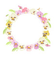 watercolor colorful pansy flower wreath frame vector image vector image