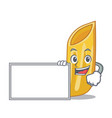 with board penne pasta character cartoon vector image vector image