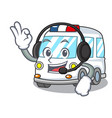 with headphone ambulance mascot cartoon style vector image
