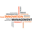 word cloud innovation management vector image vector image