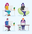 working people set man and women with laptop vector image vector image