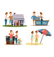 couple vacation compositions set vector image