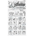Set of 20 doodle hand drawn cartoon vector image