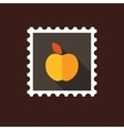Apple flat stamp with long shadow vector image vector image