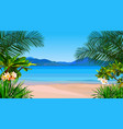 beautiful cartoon coast of the azure sea with vector image